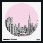 """New York light pink Wall Sticker<br><div class=""""desc"""">This is an architectural drawing done by Lee-Ann Adendorff in pen and ink. I can draw any building or interior that has special meaning for you and upload it here. Whether it is an important landmark, or family home or wedding venue, these products can make for ideal wedding favours or...</div>"""