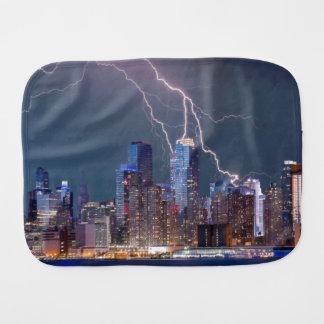 New York Lightning Storm Baby Burp Cloth