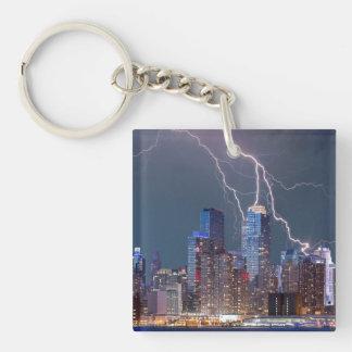 New York Lightning Storm Keychain