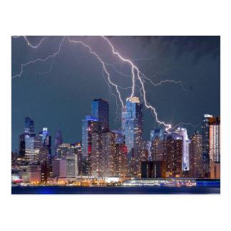 New York Lightning Storm Postcard