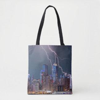New York Lightning Storm Tote Bag
