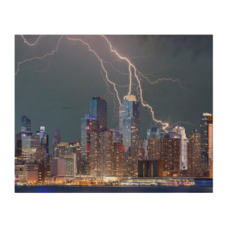 New York Lightning Storm Wood Print