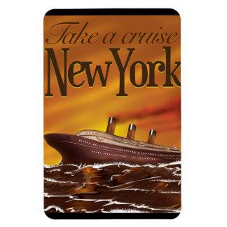 New York liner vintage travel poster Magnet