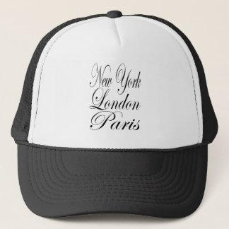 New York London Paris – Typography Slogan Trucker Hat