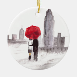 New York love couple with red umbrella Double-Sided Ceramic Round Christmas Ornament