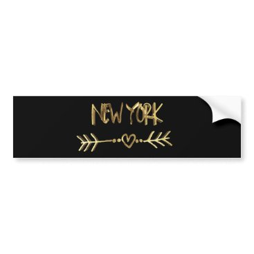 USA Themed New York Love USA Black and Gold Look Typography Bumper Sticker