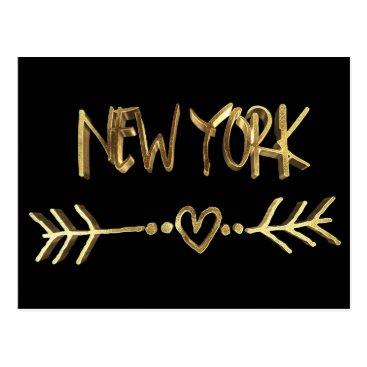 USA Themed New York Love USA Elegant Gold Look Typography Postcard