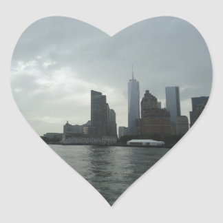 New York Manhattan Hudson River Gift Heart Sticker
