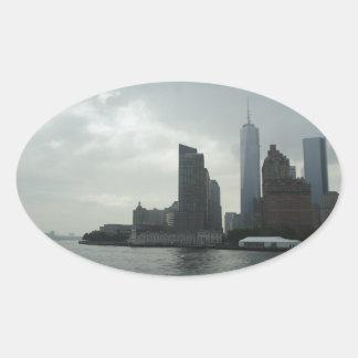 New York Manhattan Hudson River Gift Oval Sticker