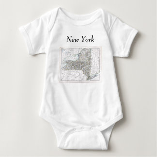 New York Map and State Flag Baby Bodysuit
