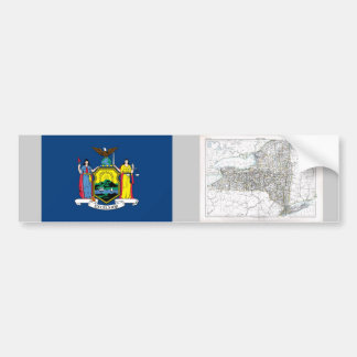 New York Map and State Flag Bumper Sticker