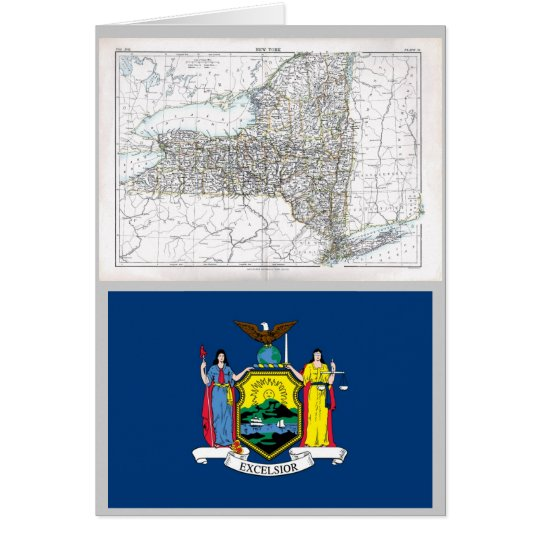 New York Map and State Flag Card
