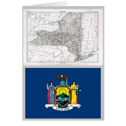 New York Map and State Flag Greeting Card