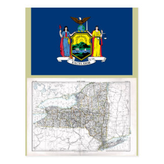 New York Map and State Flag Postcard