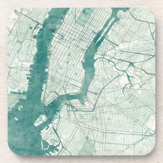 New York Map Blue Vintage Watercolor Coaster