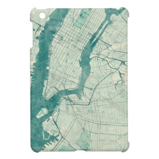New York Map Blue Vintage Watercolor iPad Mini Cover