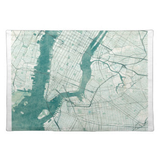 New York Map Blue Vintage Watercolor Placemat