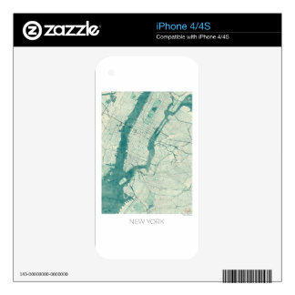 New York Map Blue Vintage Watercolor Skins For iPhone 4