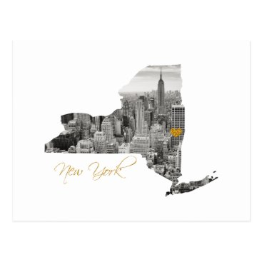USA Themed New York Map Cut Out Postcard