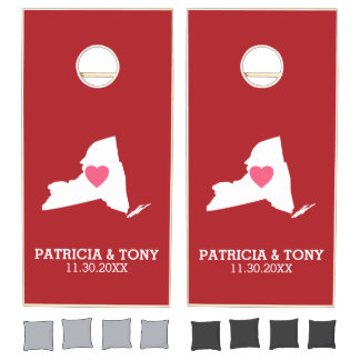New York Map Home State Love with City Heart Cornhole Set