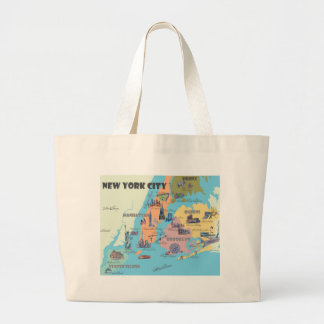 New York  Map Large Tote Bag