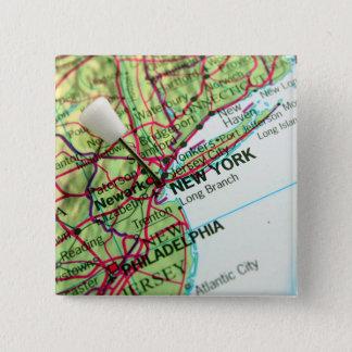 New York Map Pinback Button