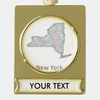 New York map Gold Plated Banner Ornament