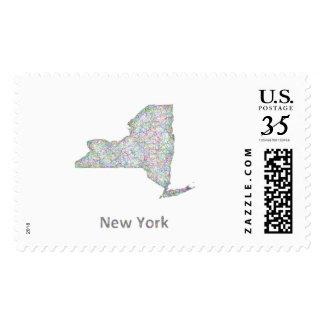 New York map Postage Stamp