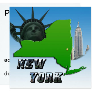 New York Map, Statue of Liberty, Monument Card
