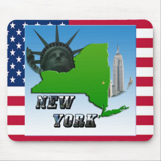 New York Map, Statue of Liberty, Monument Mouse Pad