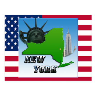 New York Map, Statue of Liberty, Monument Postcard