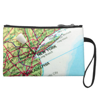 New York Map Suede Wristlet