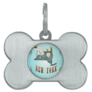New York Map With Lovely Birds Pet Name Tags
