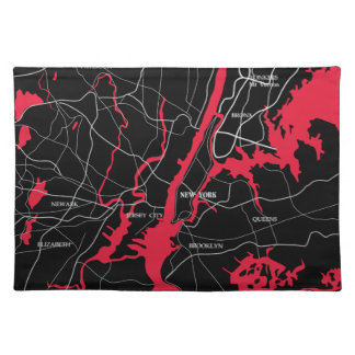 New York, Modern, Map Cloth Placemat