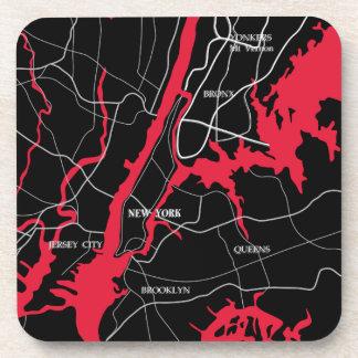 New York, Modern, Map Drink Coaster