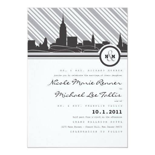 New york monogram wedding invitation zazzle for Wedding invitation companies nyc