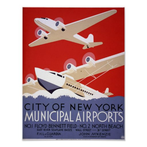 NEW YORK MUNICIPAL AIRPORTS POSTER
