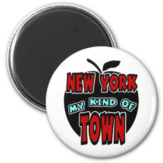New York My Kind Of Town With Big Apple 2 Inch Round Magnet