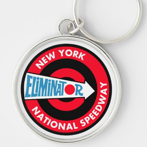 New York National Speedway Vintage sign Silver-Colored Round Keychain