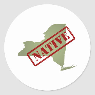New York Native with New York Map Classic Round Sticker