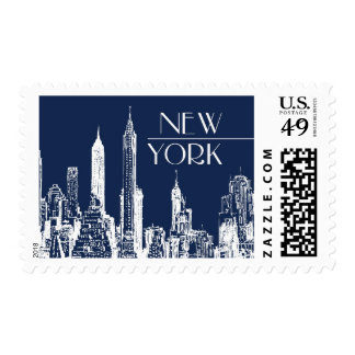 New York Navy Skyline | Atelier Isabey Stamps