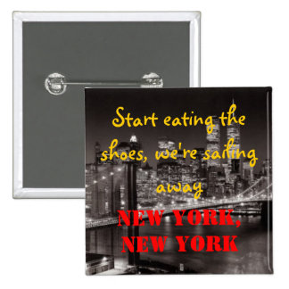 New York New York 2 Inch Square Button