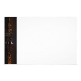 New York, New York night skyline stationary Stationery Paper