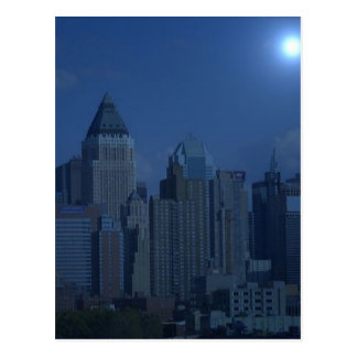 new york night blue post card