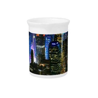 New York Night Manhattan United States Skyscraper Beverage Pitcher