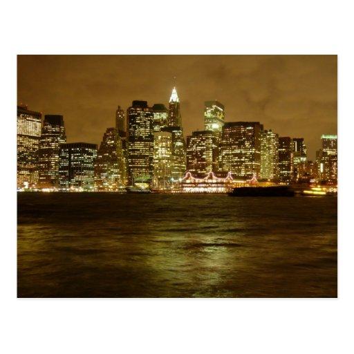 New York Night Postcard