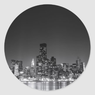 New York Night Skyline Classic Round Sticker