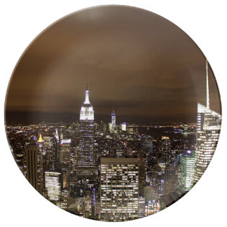 New York night skyline Dinner Plate