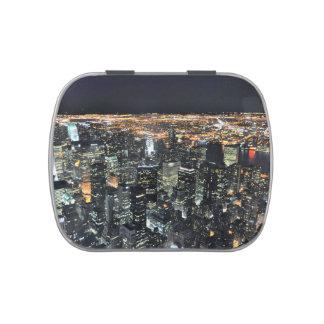 New York night skyline Jelly Belly Candy Tin