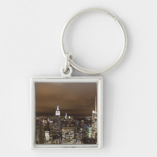 New York night skyline Silver-Colored Square Keychain
